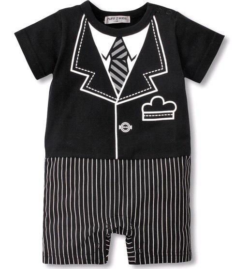 ชุดบอดี้สูท ผ้ายืดใส่สบายสกรีนลาย ชุดสูทสีดำ น่ารักมาก สรหับเด็ก 6-24 เดือน