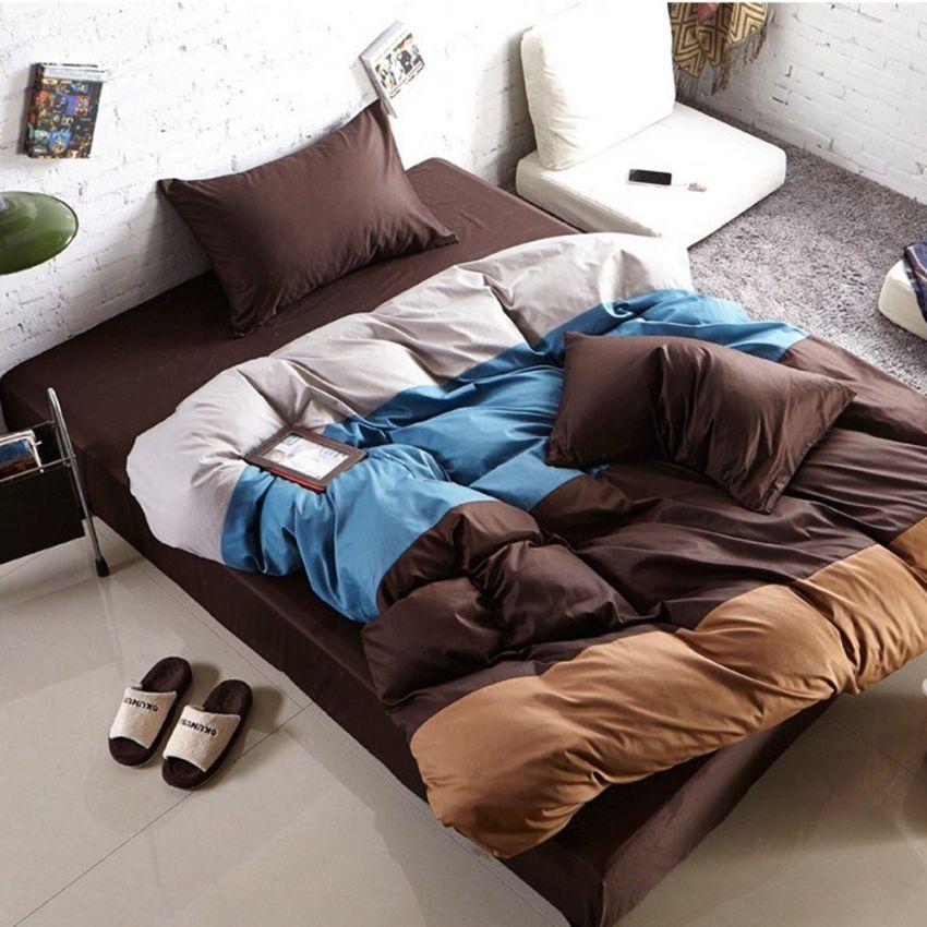 ชุดผ้าปูที่นอน 5 ฟุต cotton 100% ครบเซ็ต 4 ชิ้น รวมปลอกผ้านวม แบบสลับสี - โทนน้ำตาล
