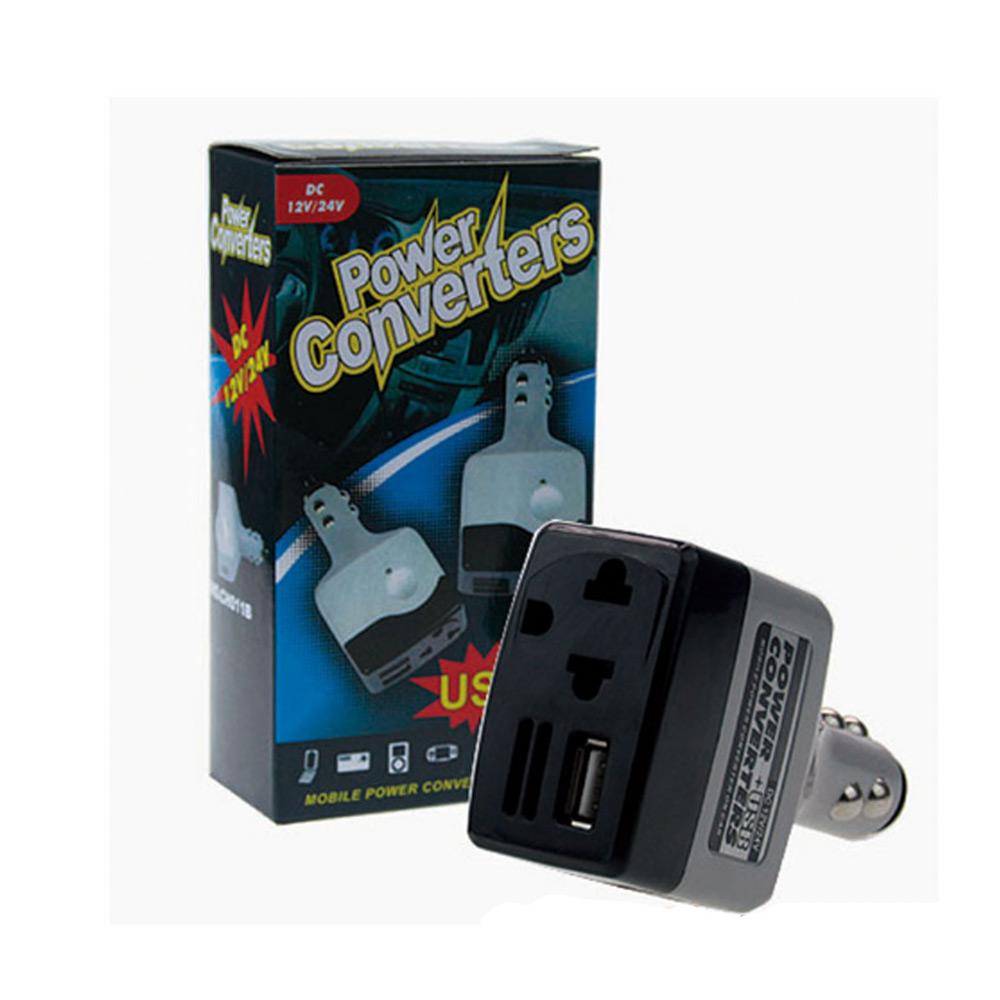 หัวแปลงจุดบุหรี่ เป็นปลั๊กบ้าน และ USB Car USB Charger Power Inverter Adapter 12V-24V to 220V DC to AC