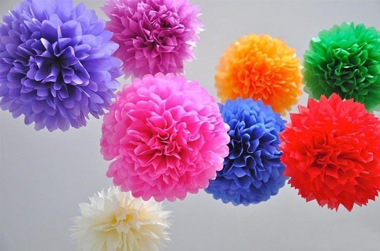 พู่กระดาษ ดอกไม้กระดาษ มีหลากหลายสี ขนาด 6 นิ้วราคาส่ง แพคละ50ลุกต่อไซต์