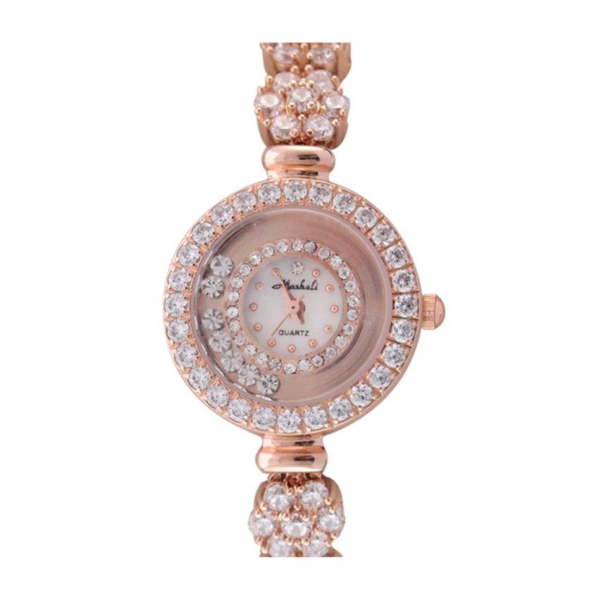 นาฬิกาข้อมือผู้หญิง สายสแตนเลส ประดับคริสตัล - สีทอง