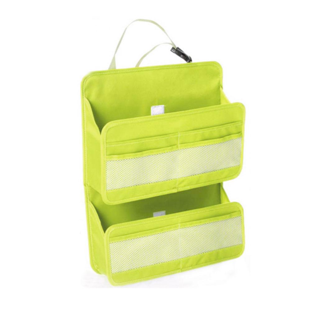 อุปกรณ์เสริมในรถ ที่แขวนหลังเบาะ สำหรับใส่น้ำและของกิน อเนกประสงค์ สีเขียว มี สองชั้น
