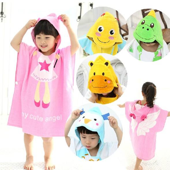 ผ้าเช็ดตัวเด็ก สุดน่ารัก เป็นเสื้อคลุมในตัว สีสันสดใส