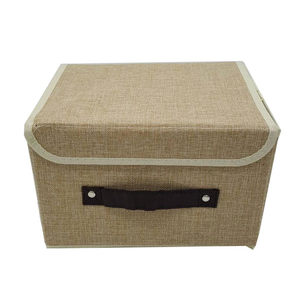 กล่องใส่ของผ้าป่าน มีหูดึง แนววินแทจ ขนาด 25*25*38
