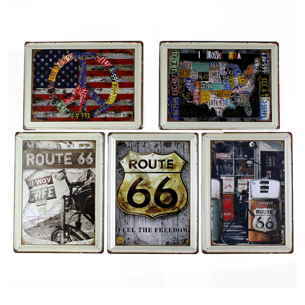 Route 66 Route Bar Cafe Living Room Metal painted  แผ่นเหล็ก ชุด  Route66    จำนวน 5 ภาพ ต่อชุดไม่ซ้ำกัน