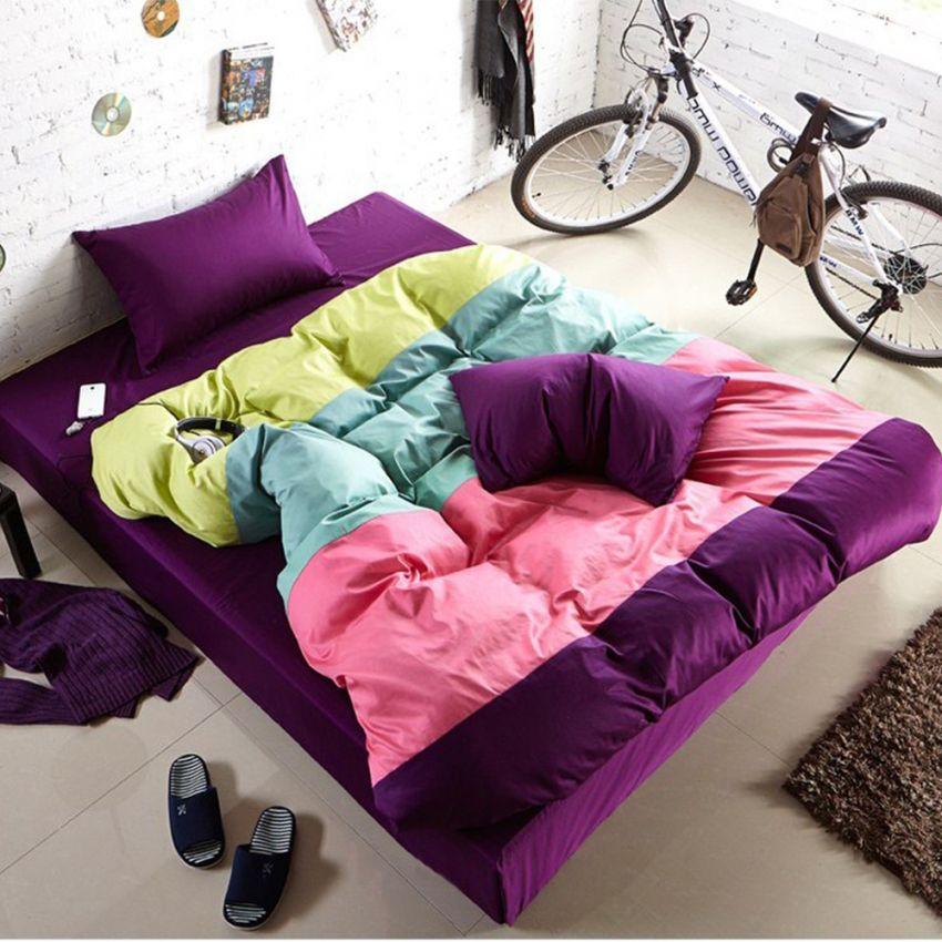 ชุดผ้าปูที่นอน 5 ฟุต cotton 100% ครบเซ็ต 4 ชิ้น รวมปลอกผ้านวม แบบสลับสี - โทนม่วง