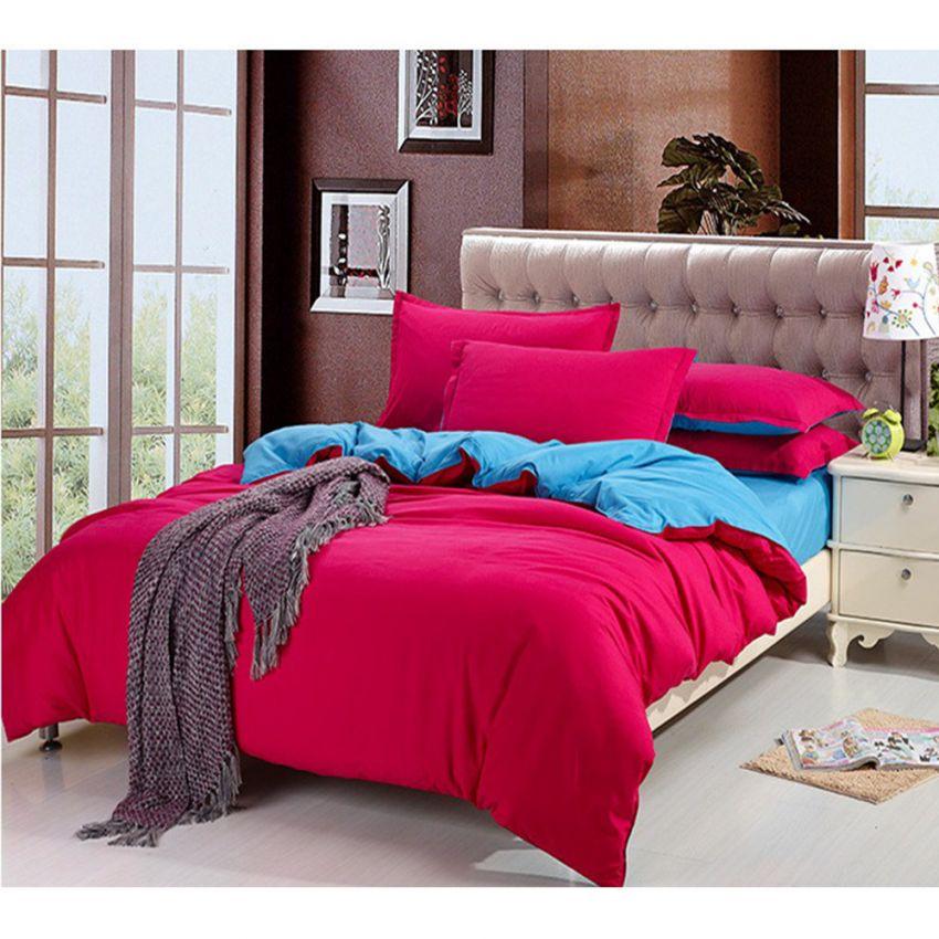 ชุดผ้าปูที่นอน 5 ฟุตครบเซ็ต 4 ชิ้น รวมปลอกผ้านวม ลายสีพื้น 2 ด้าน - สีแดง/ฟ้า