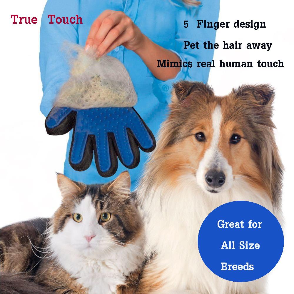 ทรูทัช ถุงมือแปรงขนแมว True Touch Five Finger Deshedding Glove (สีน้ำเงิน)