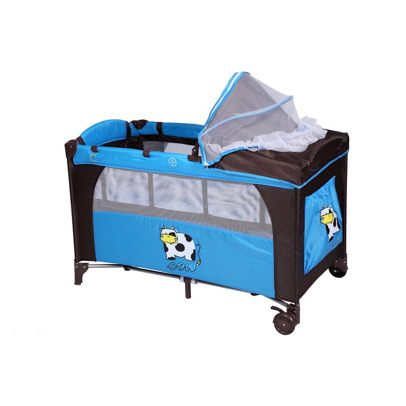 play pen เตียงนอนเด็กปรับระดับ ใช้ได้ ตั้ง 0-4 ปี แบบมีมุ้งครอบ