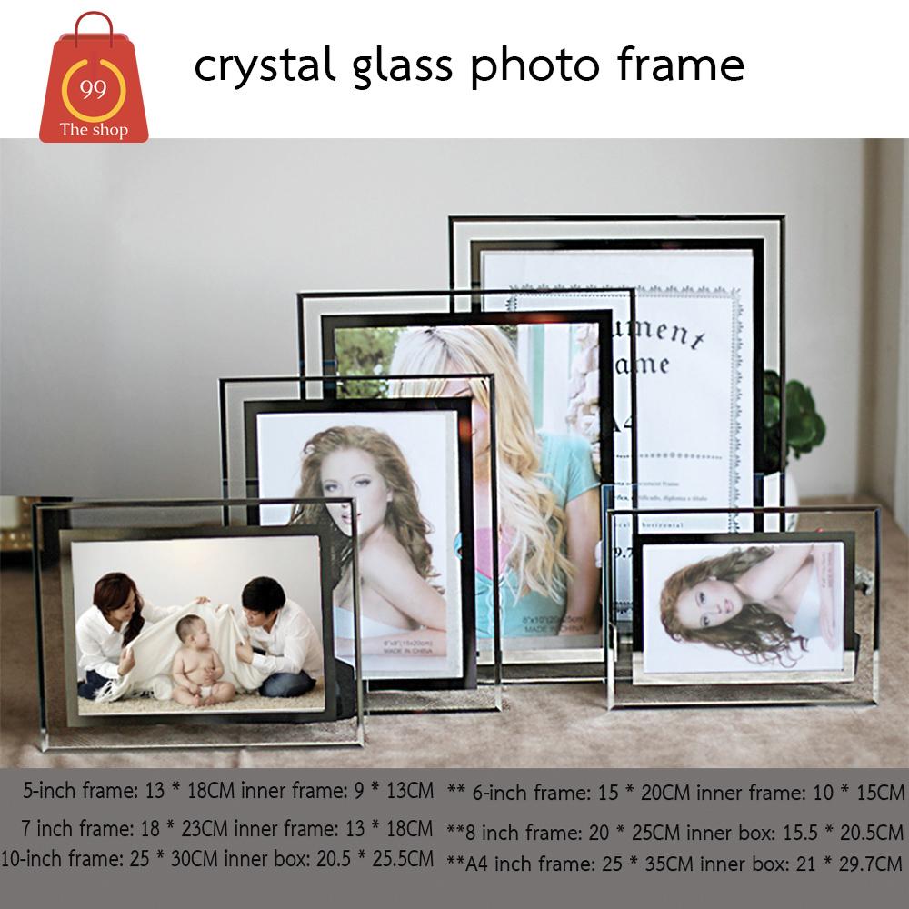 กรอบรูปกระจกคริสตัล ขนาด 5 นิ้ว 6 นิ้ว 7 นิ้ว 8 นิ้ว 10 นิ้ว  พร้อมขาตั้ง สวยหรู สำหรับใบประกาศหรือรูป