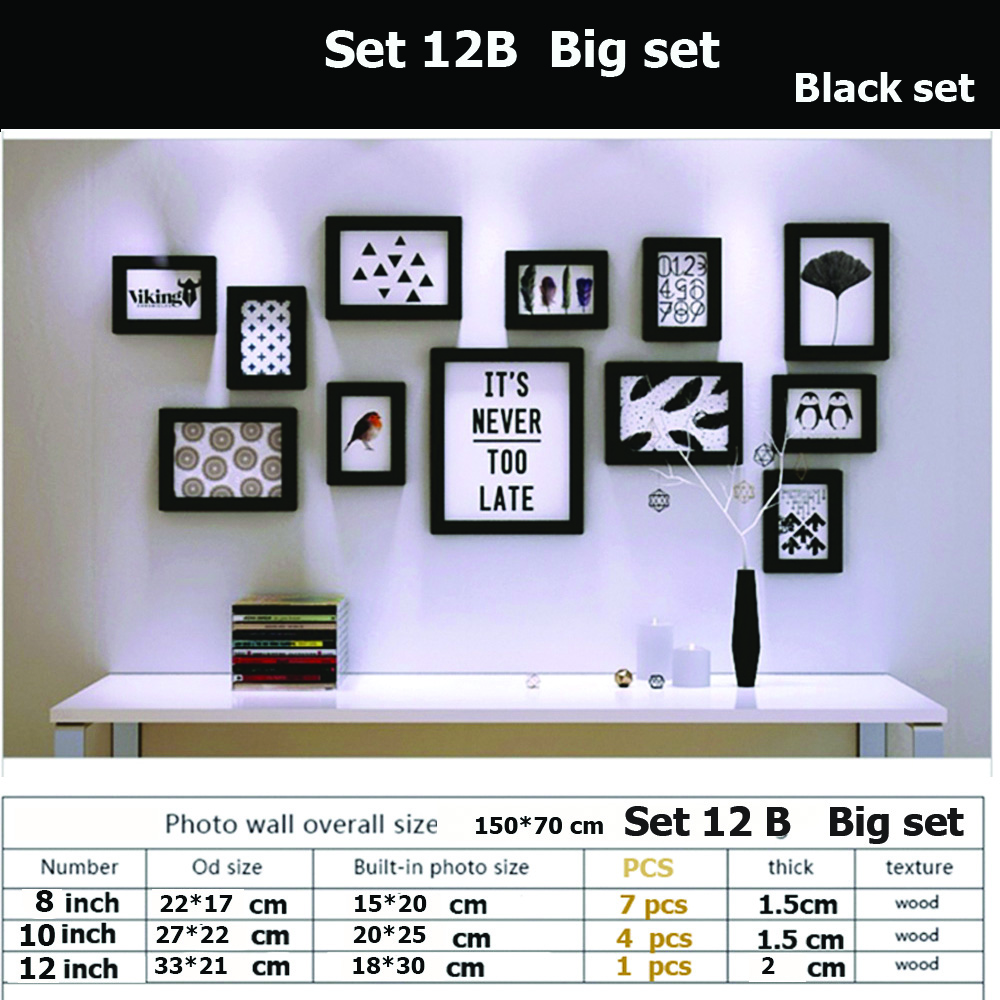 กรอบรูปตกแต่งผนัง ชุด 12B big set ชิ้นสี ขาว ดำ พร้อมตัว ยึดติดผนัง ติดง่าย สวยงาม แข็งแรง น้ำหนักเบา