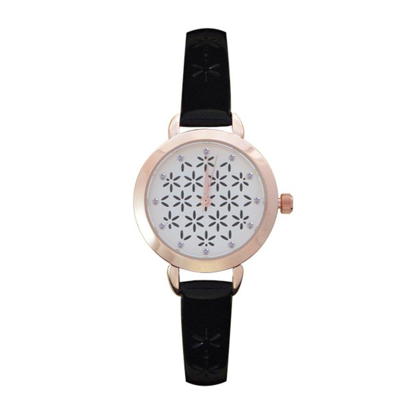 นาฬิกาข้อมือแฟชั่นผู้หญิง สายพลาสติก - สีดำ