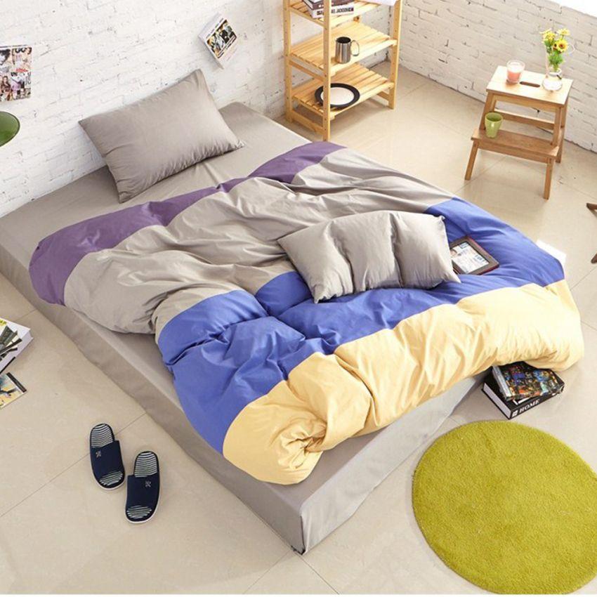 ชุดผ้าปูที่นอน 5 ฟุต cotton 100% ครบเซ็ต 4 ชิ้น รวมปลอกผ้านวม แบบสลับสี - โทนเทา