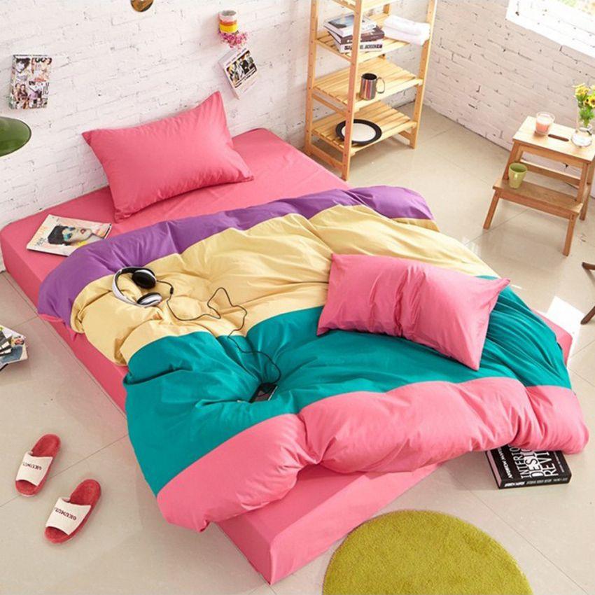 ชุดผ้าปูที่นอน 5 ฟุต cotton 100% ครบเซ็ต 4 ชิ้น รวมปลอกผ้านวม แบบสลับสี - โทนชมพู
