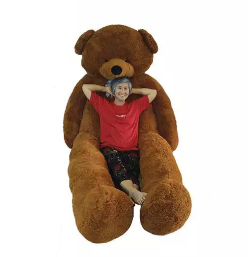 ตุ๊กตาหมีตัวใหญ๋ เท่าคน แบบโบว์สีน้ำเงิน สี light brown ไซต์   3 เมตร ขนฟู เนื้อแน่นหน้ากอด ราคาส่ง