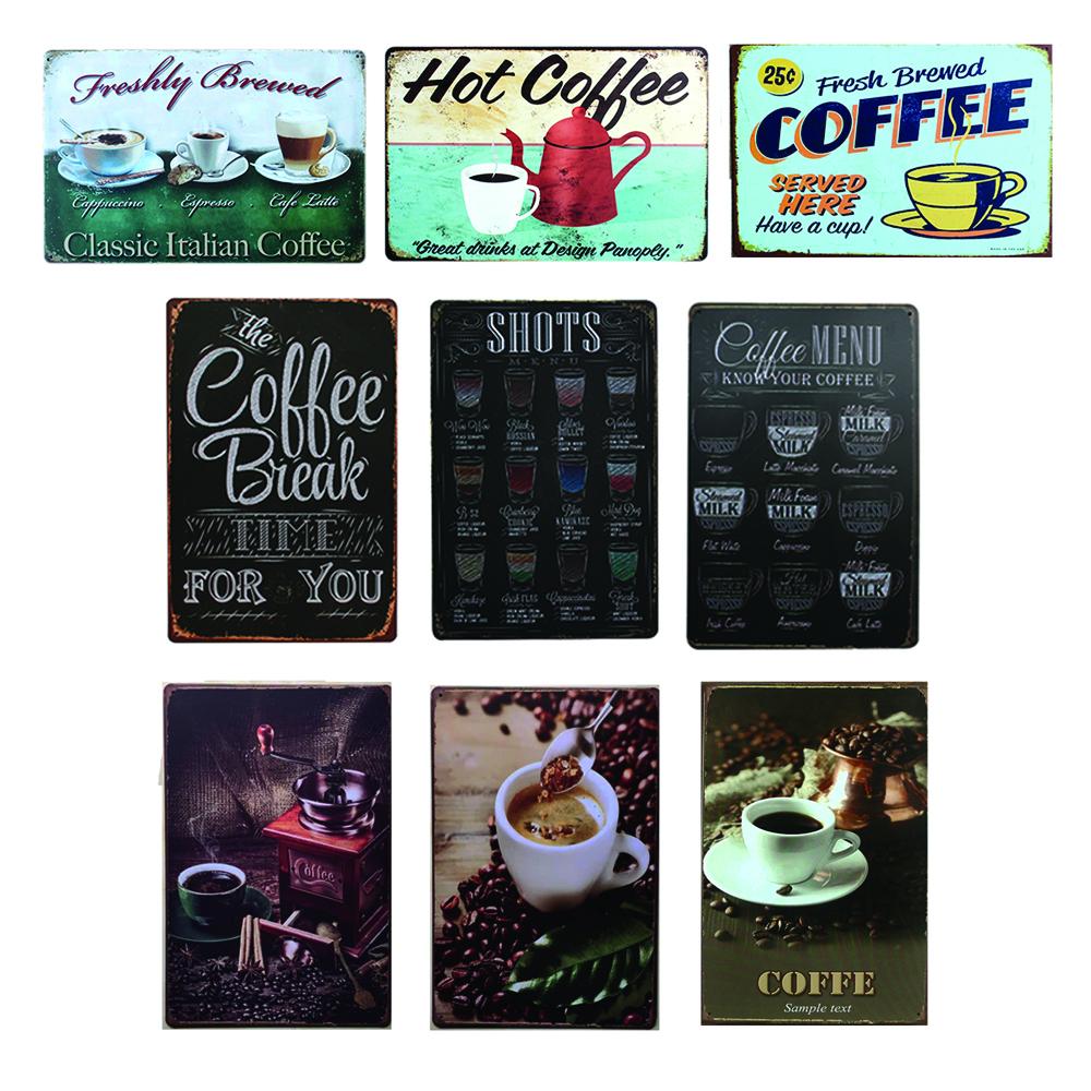 แผ่นเหล็กตกแต่งผนัง สกรีนลาย กาแฟ ไว้ตกแต่งร้านหรือห้องให้สวยงาม สไตล์  retro