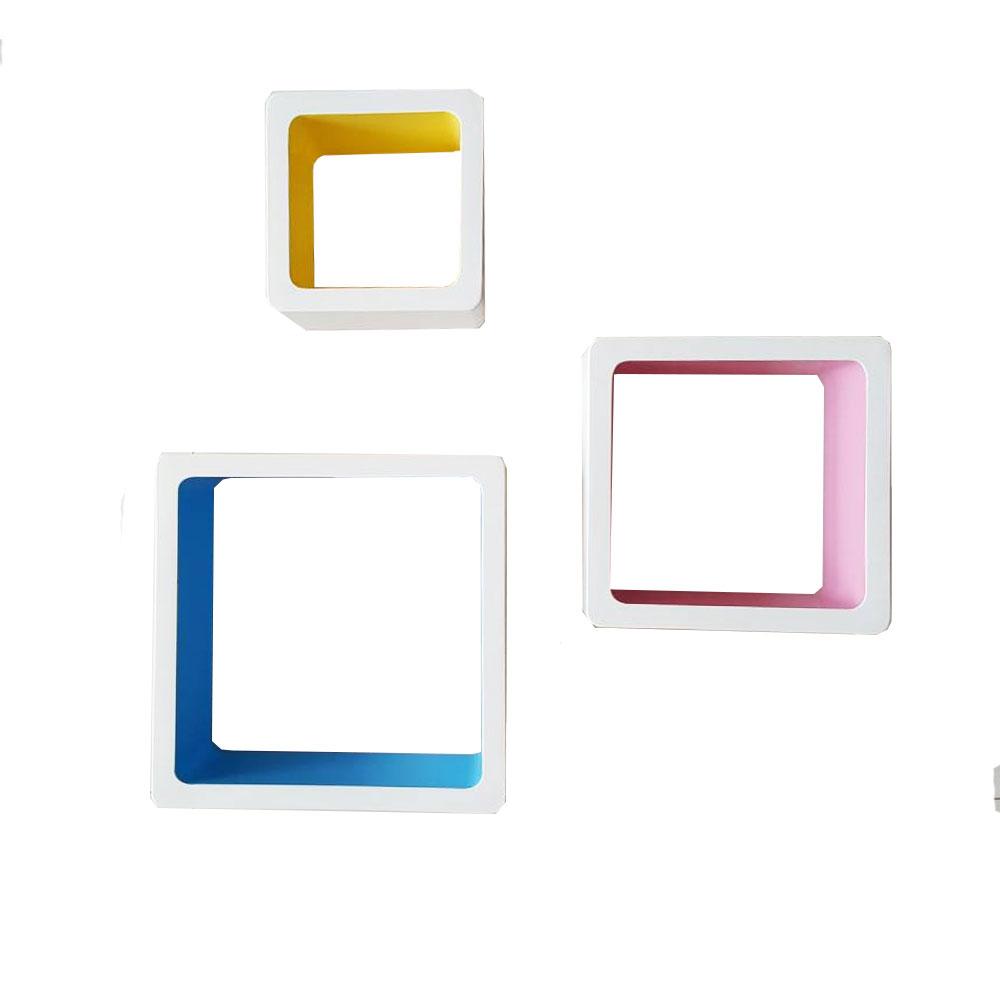ชั้นตกแต่งผนัง แบบสีเหลี่ยม 3 ชิ้น กันน้ำแข็งแรง สวยงาม รุ่น112