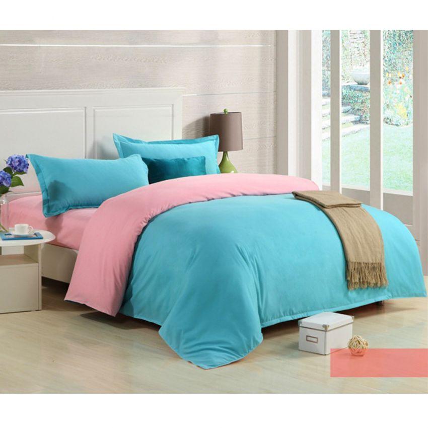 ชุดผ้าปูที่นอน 5 ฟุตครบเซ็ต 4 ชิ้น รวมปลอกผ้านวม ลายสีพื้น 2 ด้าน