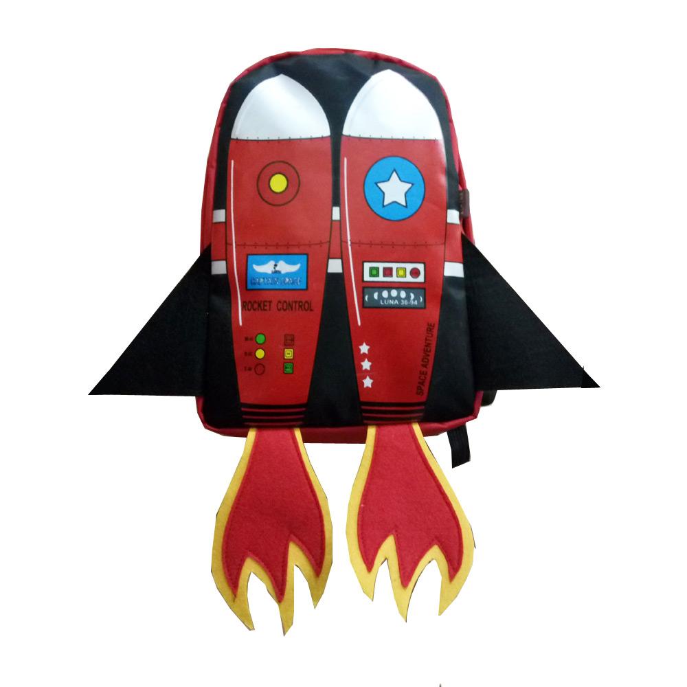 กระเป๋าเป้เด็ก สุดเทห์ รูปจรวดอวกาศ สีแดง  ผ้ากันน้ำ