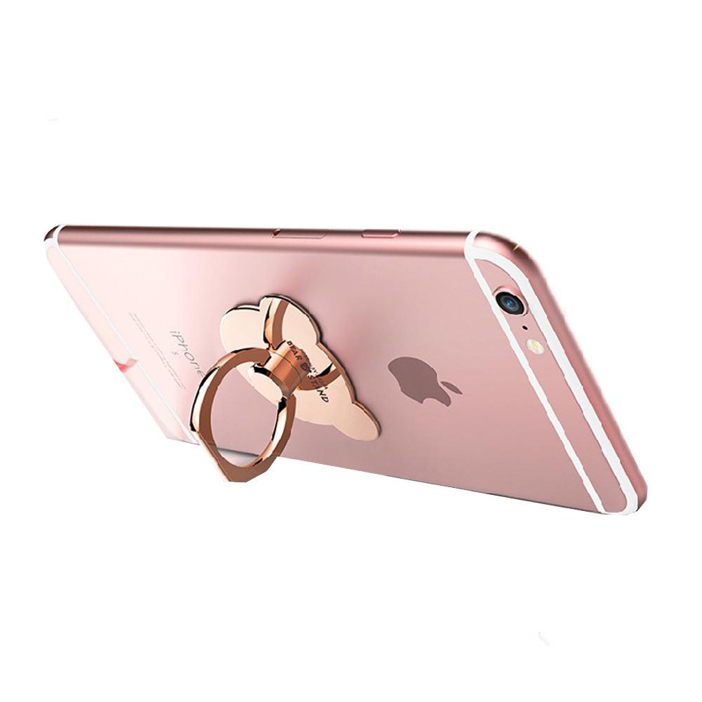 MO I Ring iring แหวนตั้งโทรศัพท์พร้อมตะขอเกี่ยวมือถือ (สีทอง) รูปหมี