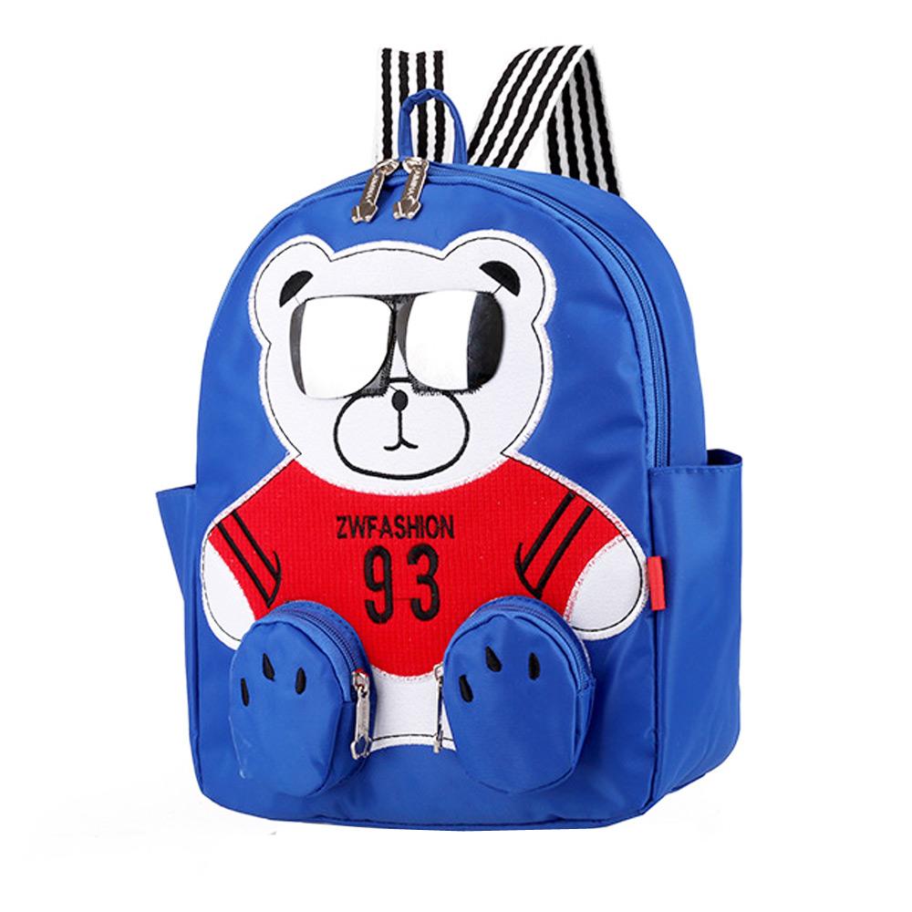 กระเป๋าเป้เด็ก ลายหมีใส่แว่น สุดเก๋ นา่รักมาก ผ้ากันน้ำ