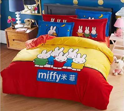 ชุดผ้าปูที่นอน รวมนวมหน้า 6 ฟุต ผ้ากำมะหยี่ นอนอุ่นสบาย ลาย miffy