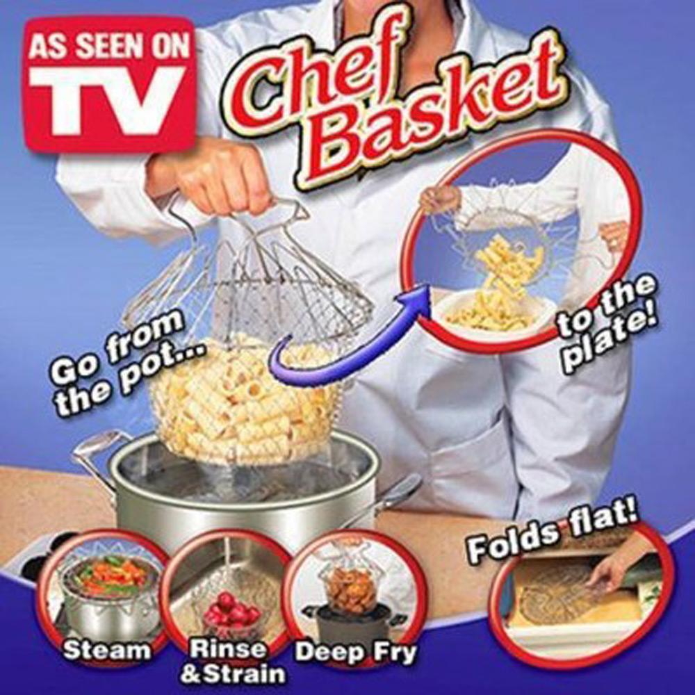 Chef Basket  ตะกร้า ตะแกรงทำอาหาร อเนกประสงค์ ต้ม ทอด ลวก นึ่ง