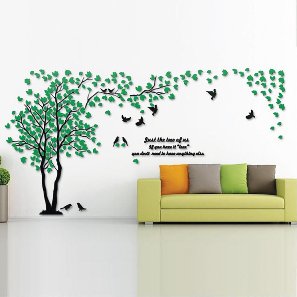 สติกเกอร์ 3D ติดผนังทำจาก อคลีลิค ขนาด 320*160 cm รูปต้นไม้แห่งรัก