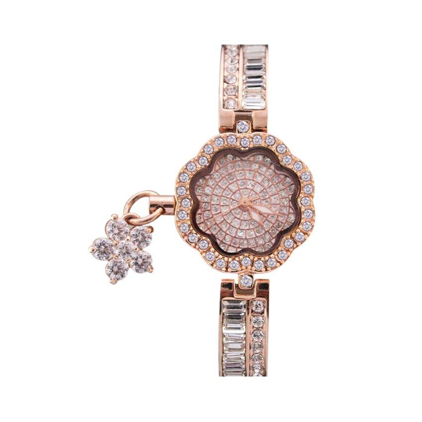 นาฬิกาข้อมือผู้หญิง สายสแตนเลส ทรงดอกไม้ประดับคริสตัล - สีทอง