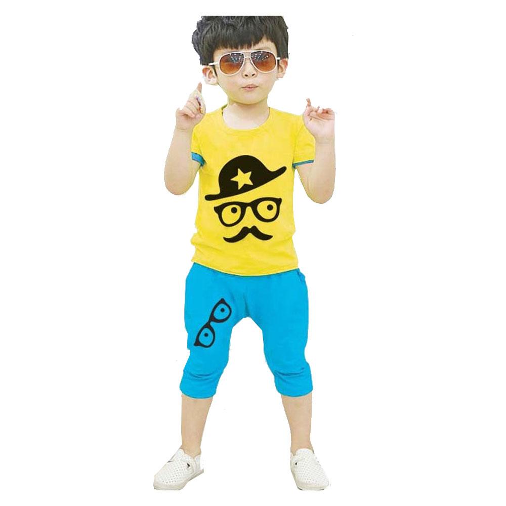ชุดเสื้อผ้าเด็กชาย  2.5-6 ปี  เสื้อเหลืองกางเกงฟ้า