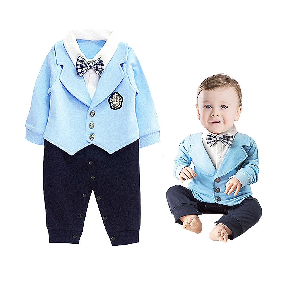 ชุดบอดี้สูทแบบเสื้อสูทสีฟ้า ชุดออกงานสำหรับหนุ่งน้อย 3-30 เดือน