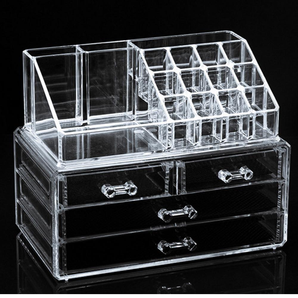 กล่องอคีลิคสำหรับใส่เครื่องสำอาง 3ชั้น อุปกรณ์เมคอัพ