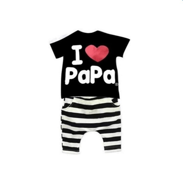 ชุดเซ็ต เสื้อ+กางเกง สกรีนลาย i love papa  สำหรับเด็ก 2-6 ปี สีโทนดำ