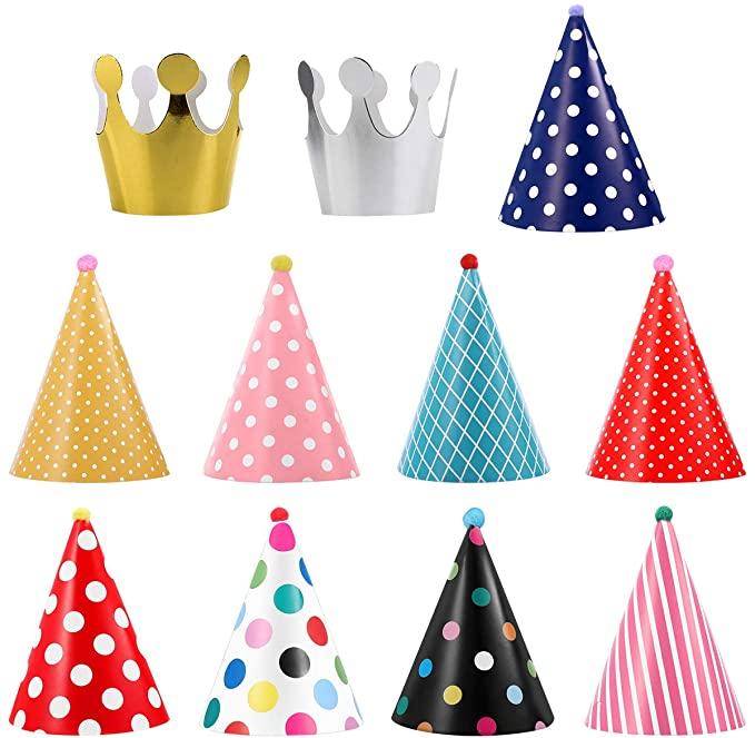 เซ็ตหมวกปาร์ตี้  สุดคุ้ม 11 ใบ หมวกปาร์ตี้9ใบ +หมวกมงกุฏ2 ตามรูป