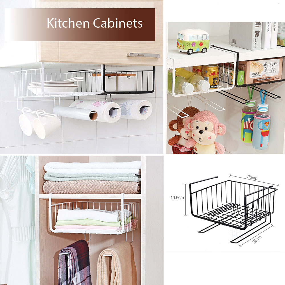 Hanging basket ตะกร้าแบบมีฐานเกี่ยว ใช้สำหรับเกี่ยวใต้ชั้น ใต้โต๊ะ ไว้ใส่สิ่งของ ใช้งานง่าย ทำจากเหล็ก