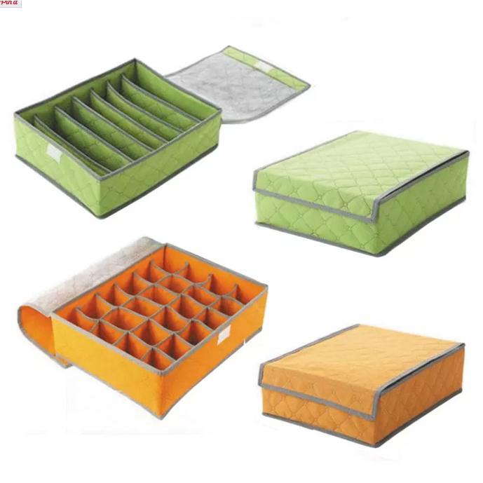ชุดเซ็ต กล่องจัดระเบียบชุดชั้นใน สำหรับใส่เสื้อใน 2 ชิ้น และ กางเกงใน 2 ชิ้น (สีเขียว/ส้ม)