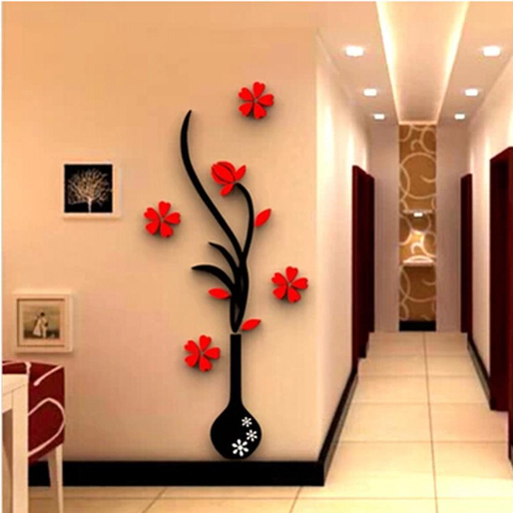 สติกเกอร์ 3D รูปดอกไม้ในแจกัน ทำจากอคลีลิค ขนาด 180*71 cm