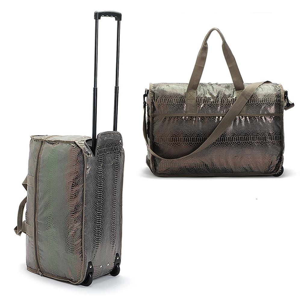 กระเป๋าล้อลาก แบบพับเก็บได้ ลายหนังงูสีน้ำตาล สะพายได้ ลากได้ ไม่กินพื้นทีพับเก็บได้