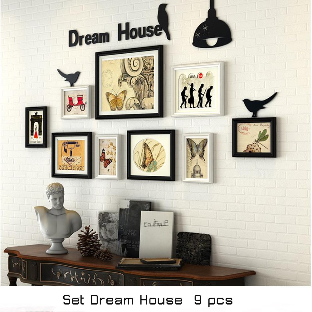 กรอบรูปตกแต่งผนัง ชุด dream house  9 ชิ้น rพร้อมตัวอักษร dream house  สี ขาว ดำ พร้อมตัว ยึดติดผนัง ติดง่าย สวยงาม แข็งแรง น้ำหนักเบา