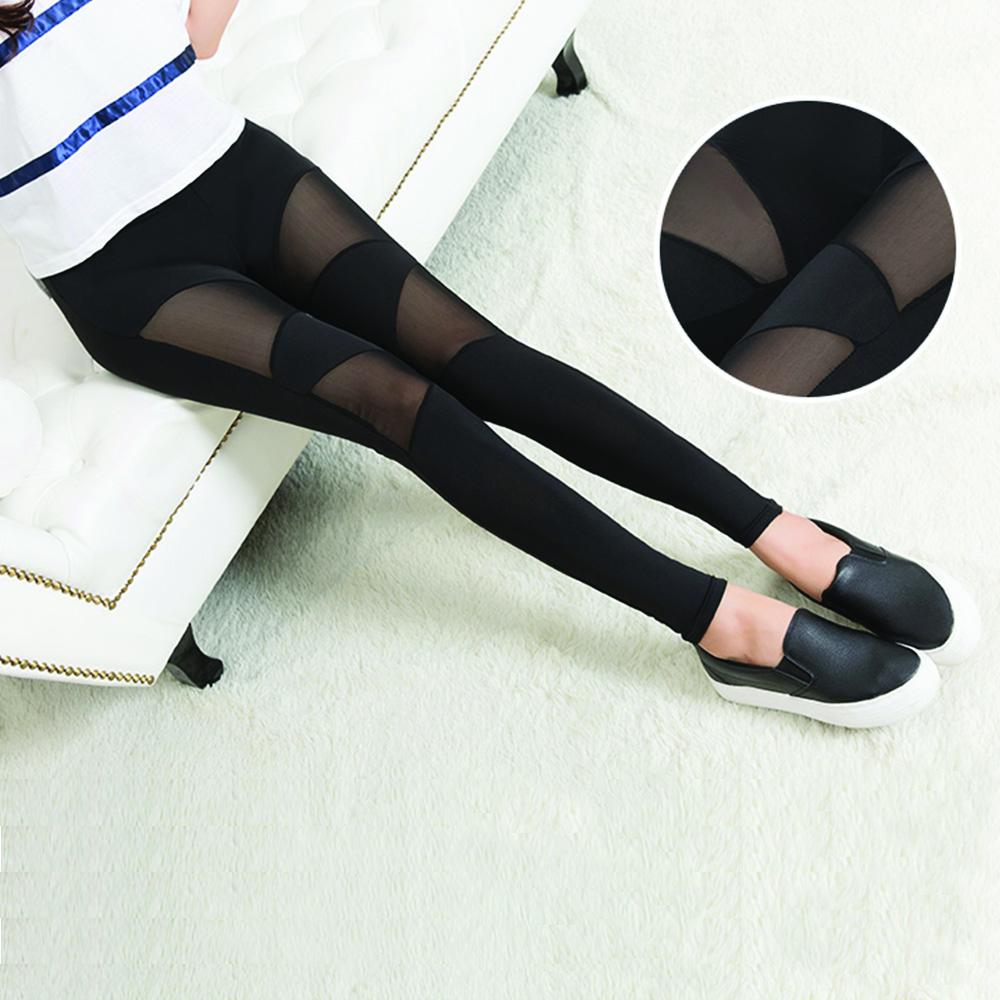 กางเกงเล็กกิ้งขายาว รุ่นผ้าตาข่าย สีดำใส่สบายเซ็กซีผ้ายึดได้มาก26-40 นิ้ว