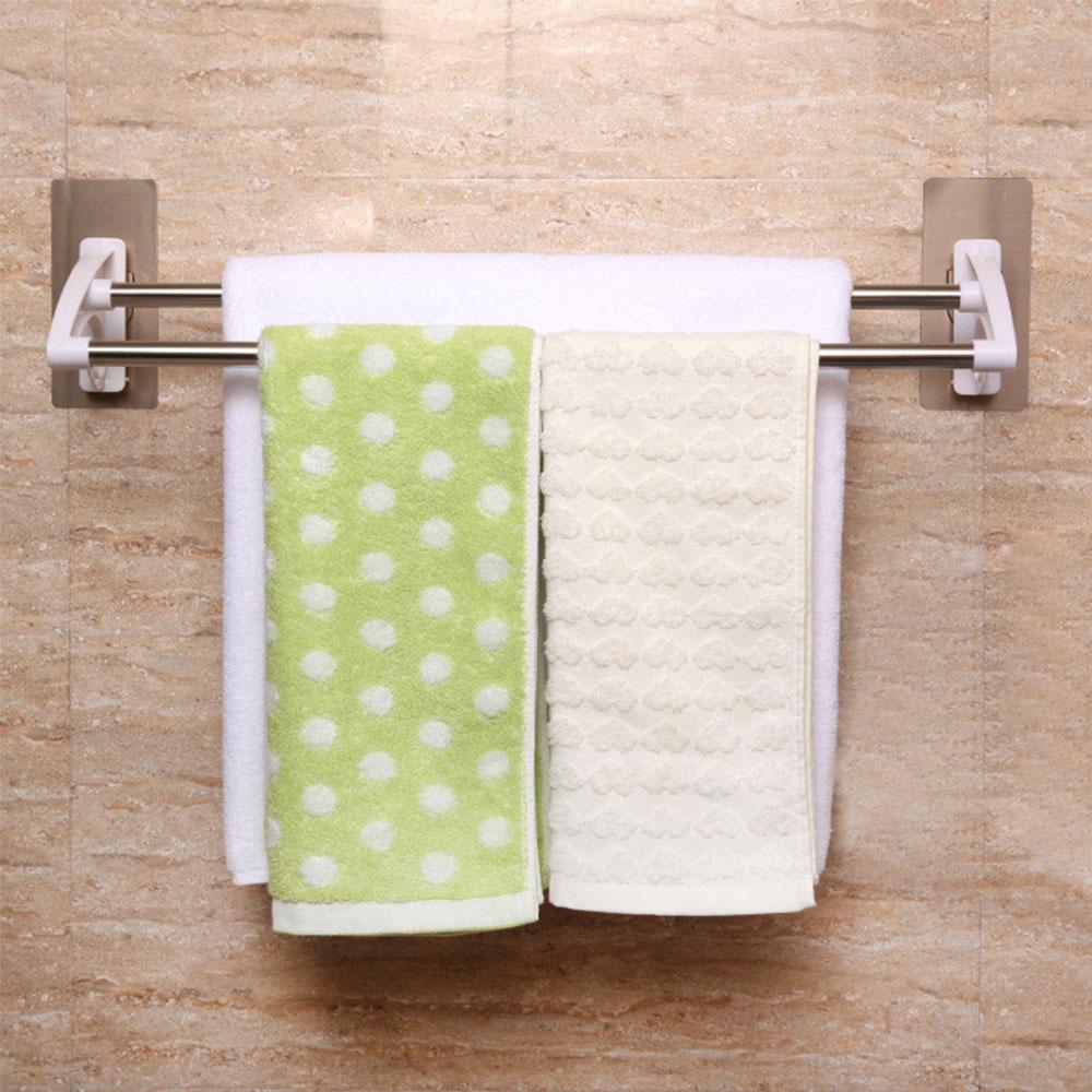 ราวตากผ้าสองชั้นสำหรับแขวนในห้องน้ำ รุ่นไม่ต้องเจาะ รับน้ำหนักได้มาก ติดตั้งง่าย
