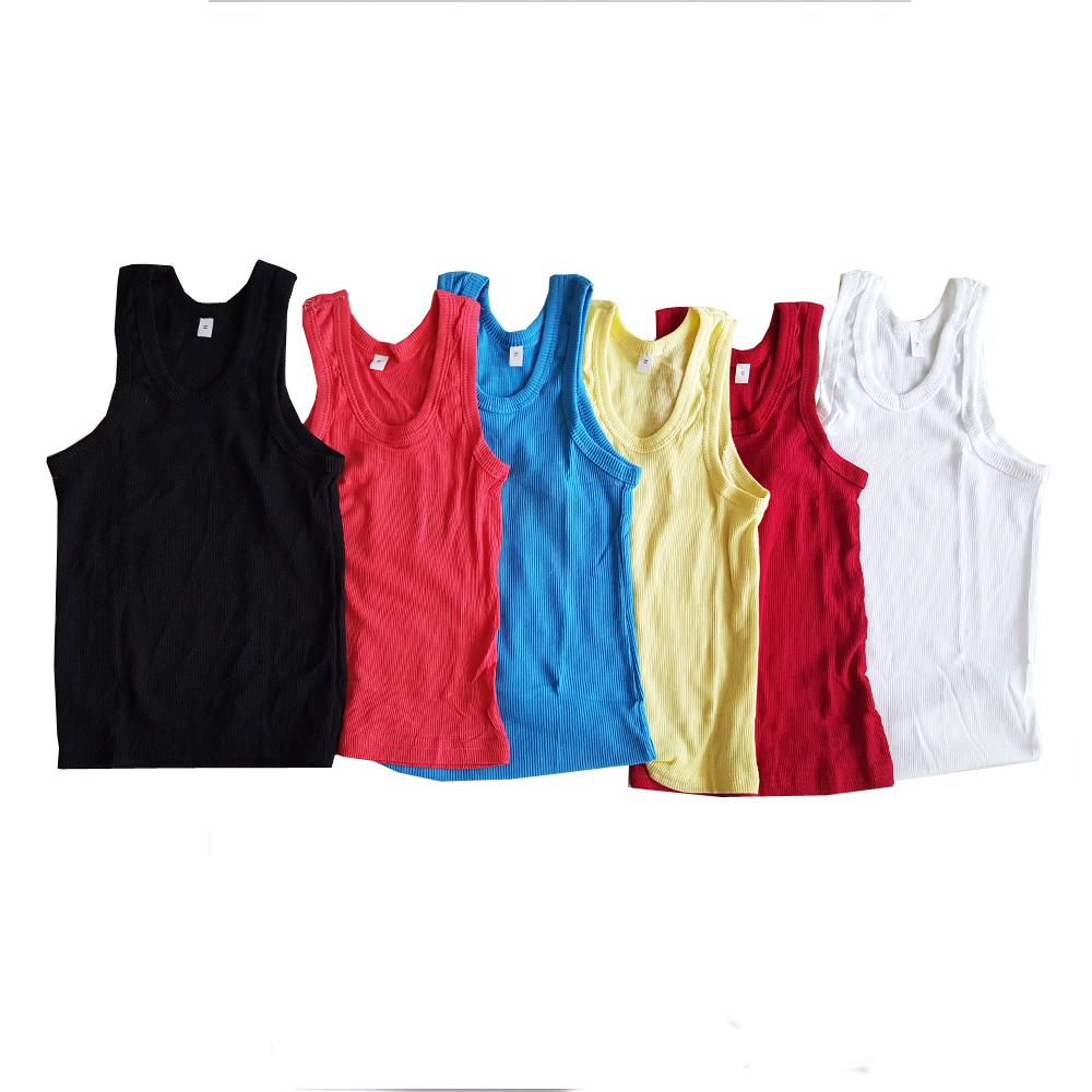 เซ็ตเสื้อกล้าม  6 ตัว ผ้ายืดเนื้อนิ่มใส่สบายยืดได้ มาก สำหรับเด็ก 2-6 ขวบ