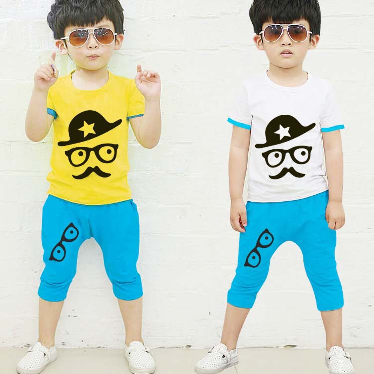 ชุดเซ็ต เสื้อ+กางเกง เหลืองฟ้า สำหรับเด็ก 3-8 ปี