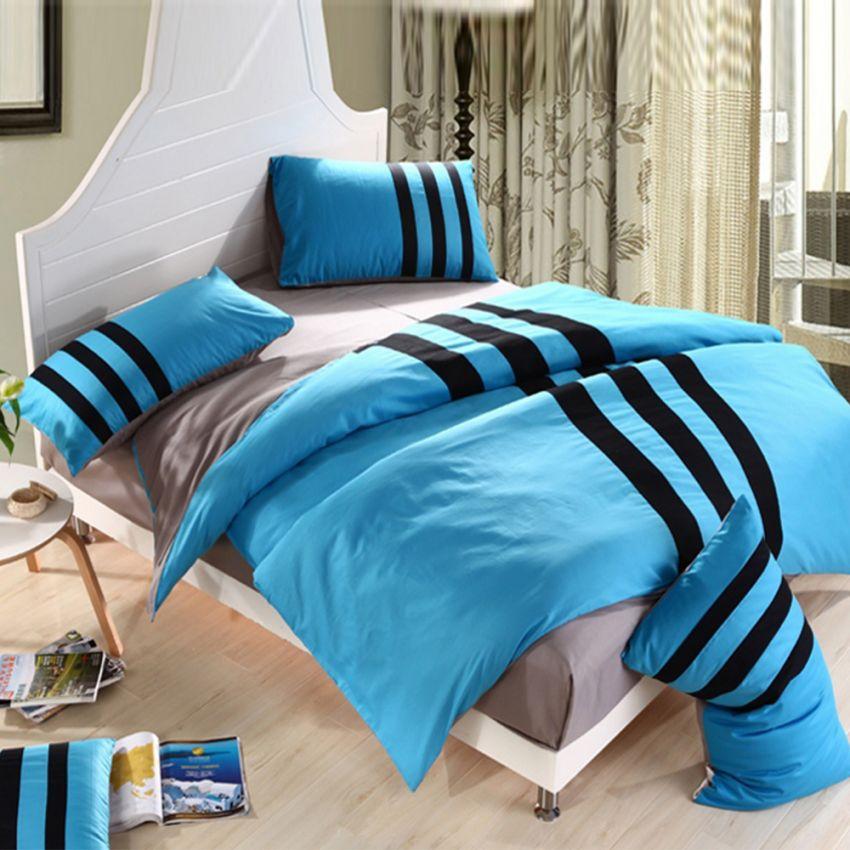 ชุดผ้าปูที่นอน 5 ฟุต cotton 100% แบบ Sport ลายคาด ครบเซ็ต 4 ชิ้น รวมปลอกผ้านวม - สีน้ำเงิน
