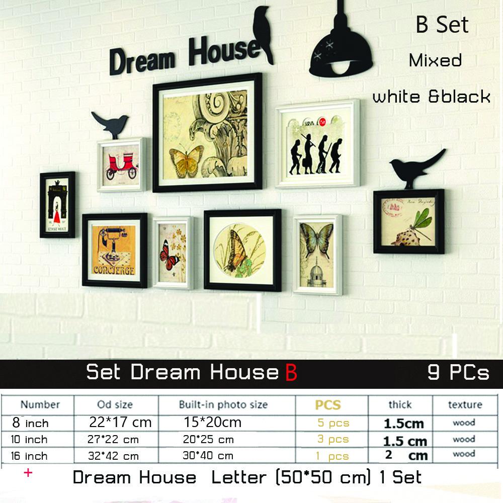 ชุด dream houseฺB  9 ชิ้น กรอบรูปตกแต่งผนัง พร้อมตัวอักษร   สี ขาว ดำ พร้อมตัว ยึดติดผนัง ติดง่าย สวยงาม แข็งแรง น้ำหนักเบา