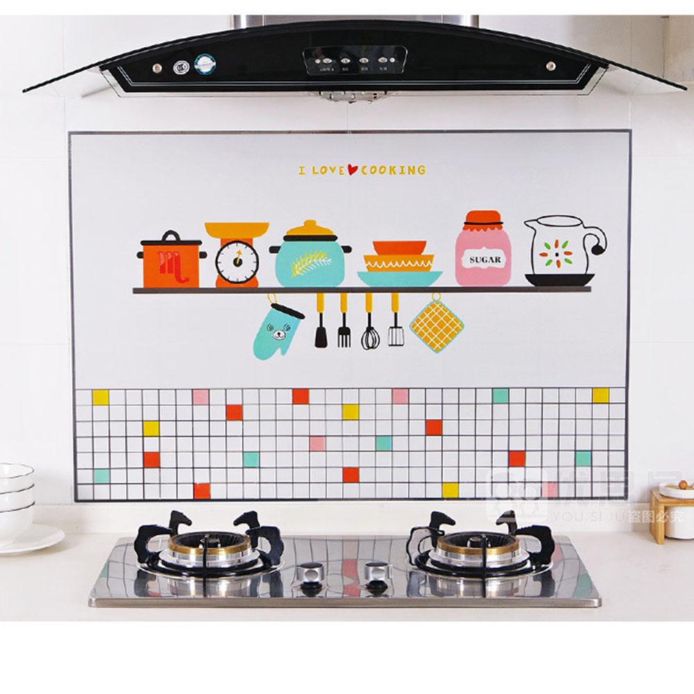 ฟอยล์อลูมิเนียม กันน้ำมันกระเด็น ใช้สำหรับติดผนังห้องครัว ลวดลายน่ารัก