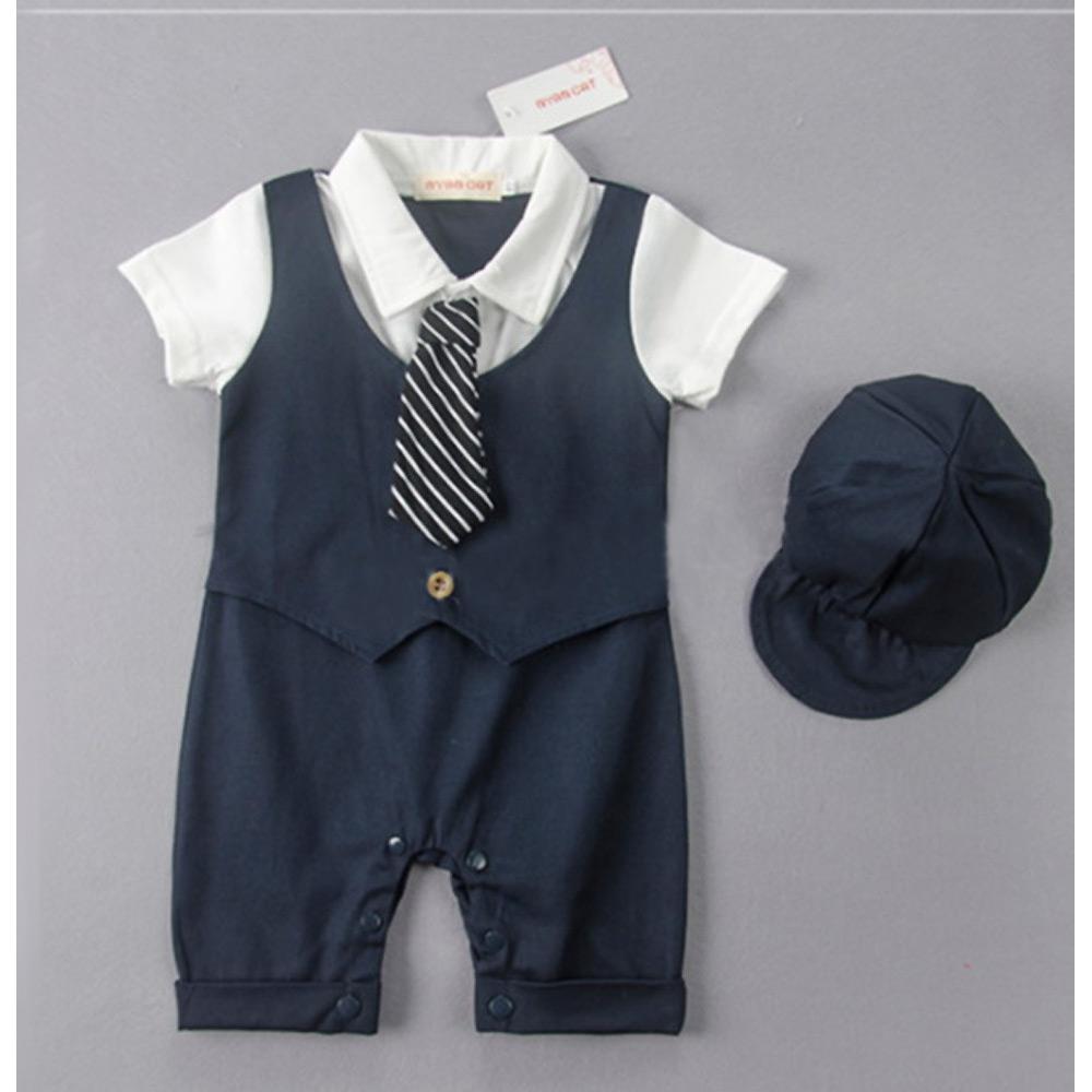 ชุดออกงานเด็กชาย แบบชุดติดกันมี หมวก น่ารักมาก 6 เดือน-3 ปี