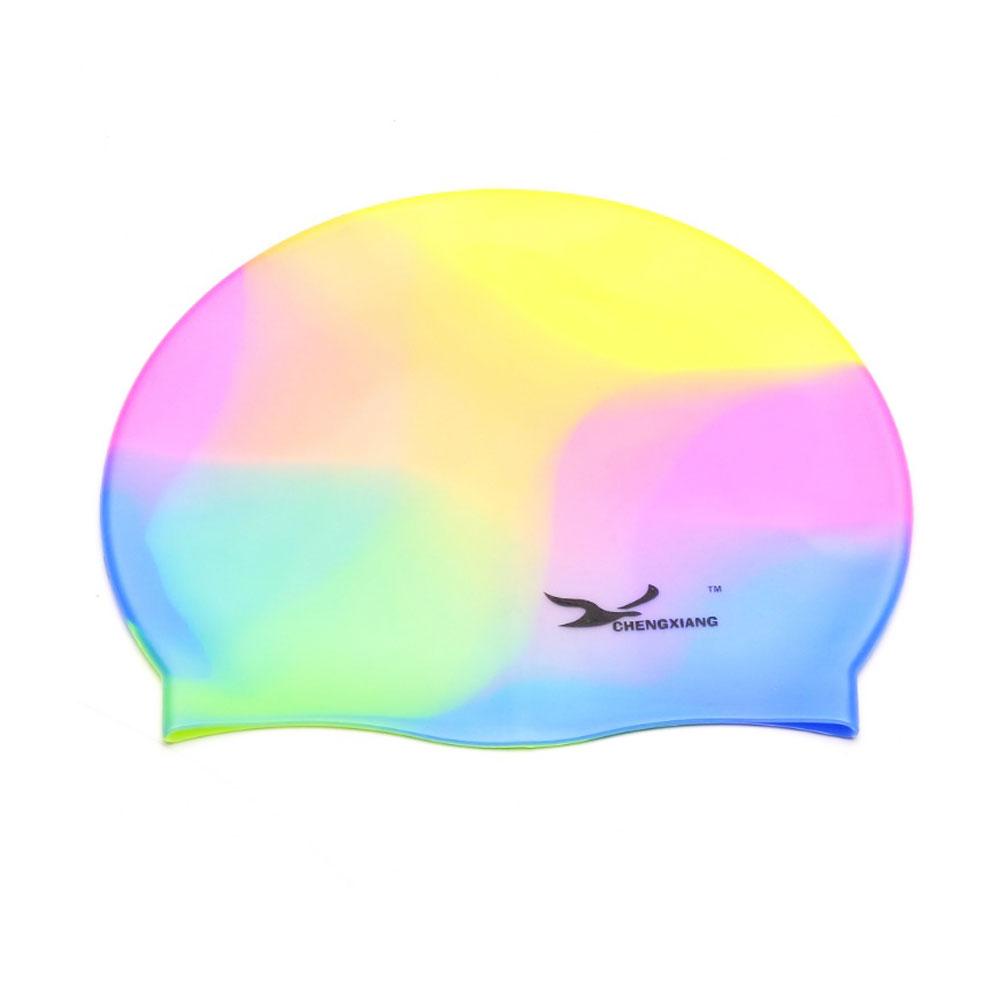 หมวกว่ายน้ำแบบปิดหู กันน้ำเข้า Waterproof silicone swimming cap swimming cap สีรุ้ง