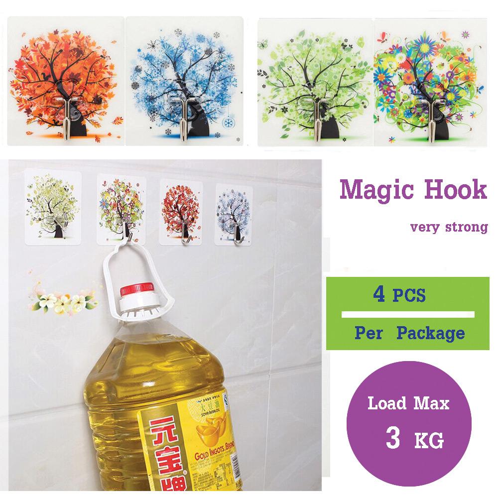 Magic Hook ตะขออเนกประสงค์ยึดติดผนัง รับน้ำหนกัได้ถึง3 KG  ไม่ต้องเจาะ ไม่ต้องตอก ติดแน่นคงทน