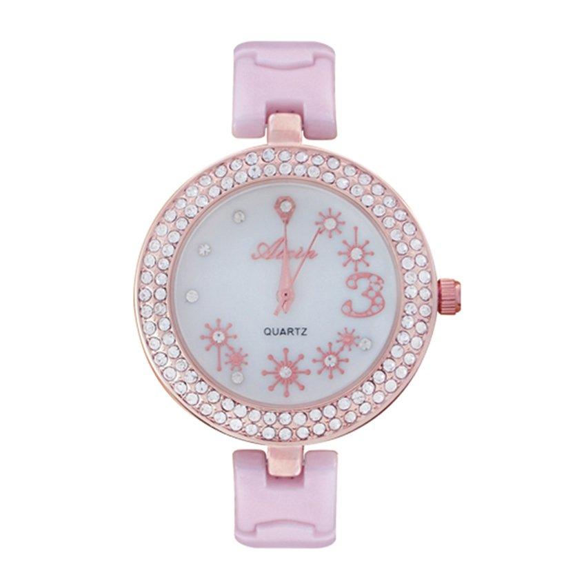 นาฬิกาข้อมือแฟชั่นผู้หญิง สายพลาสติก - สีชมพู